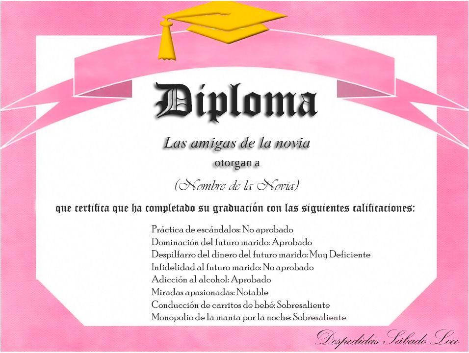 diploma despedida de soltera