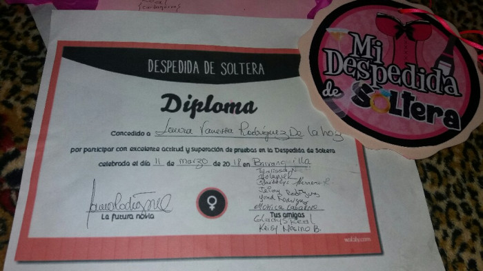 diplomas de despedida de soltera